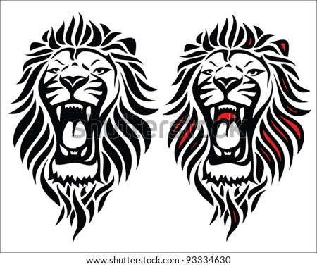 Isolated tribal lion tattoo - vector illustration