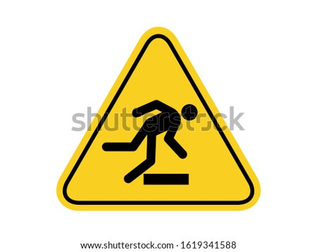 isolated tripping common hazards symbols on yellow round triangle board warning sign for icon, label, logo or package industry etc. flat style vector design.