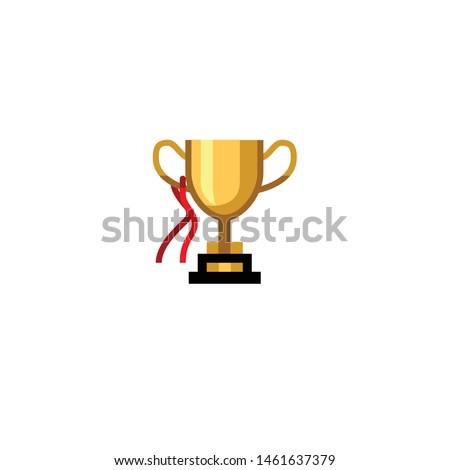 Isolated Trophy Emoji, Icon. emoticon. vector flat pictogram.