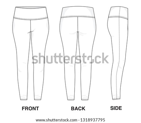 Isolated Trouser Pants Leggings object of clothes and fashion stylish wear fill in blank shirt. Regular Leg Casual Sports Illustration Vector Template. Front, back and side view