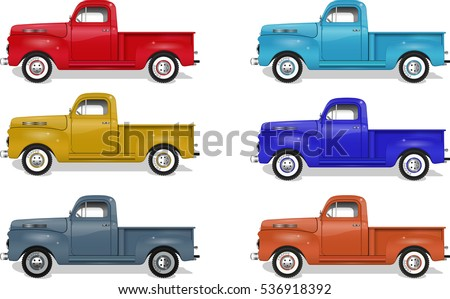 Isolated truck illustration set