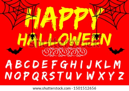 Isolated vector alphabet letters on a Halloween background vintage named Happy Halloween
