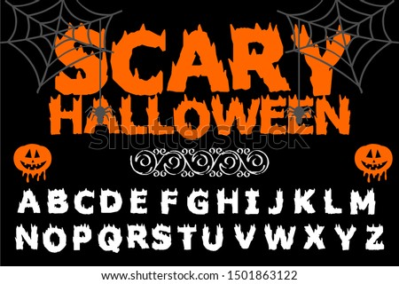 Isolated vector alphabet letters on a Halloween background vintage named Scary Halloween