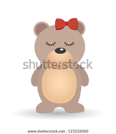 Isolated vector bear on white background. Valentine card