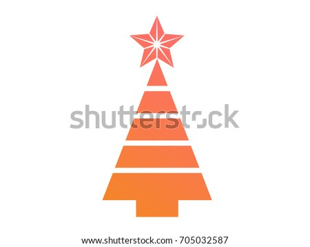 Isolated vector colorful gradient Christmas tree flat icon #705032587