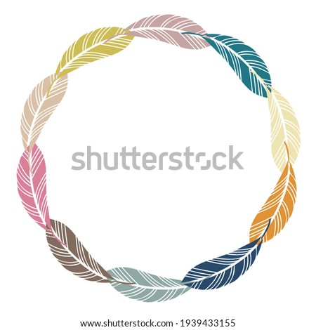Isolated vector colorful illustration vignette design with abstract geometric feather shapes. The design is perfect for stickers, icons, badges, stationary, logos, invitations, decorations, tattoos.