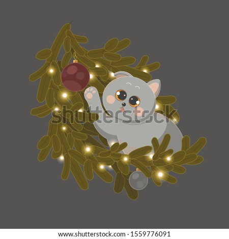 Isolated vector cute charming british cat with big eyes looks at brown, gray Christmas balls and a garland, playfully pulls its paw and charms on a dark gray background in the New Year holidays.