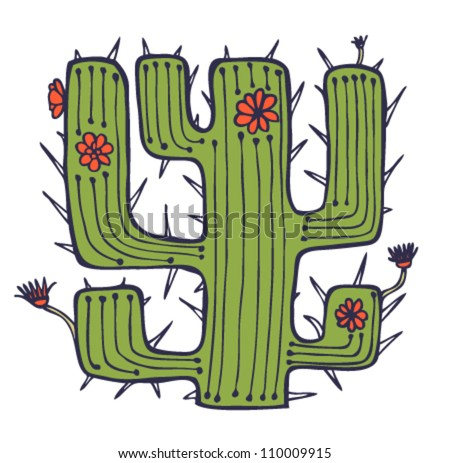 Isolated vector drawn cactus with flowers and thorns. Stylish african element. Plant of desert. Can be used for print on pocket, cup, souvenir, bag template. clothes