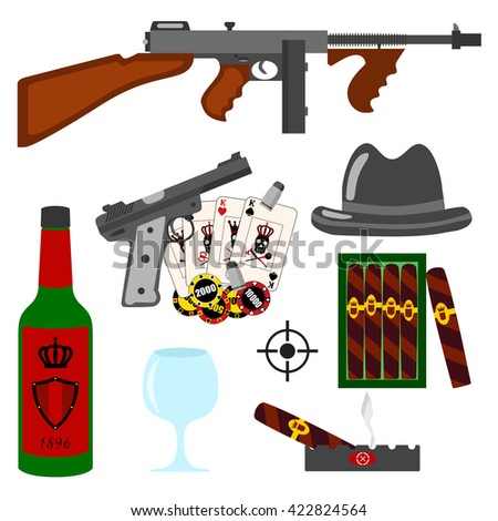 isolated vector gangster set on