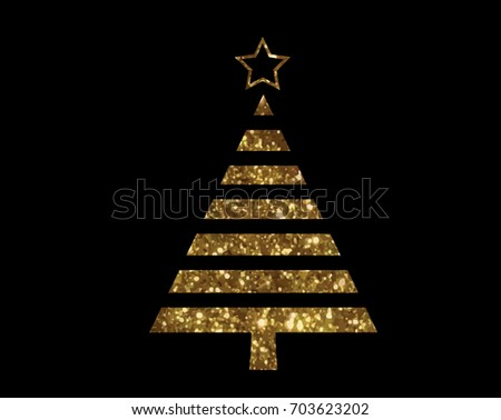 Isolated vector golden glitter Christmas tree flat icon #703623202