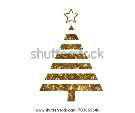 Isolated vector golden glitter Christmas tree flat icon #703665640