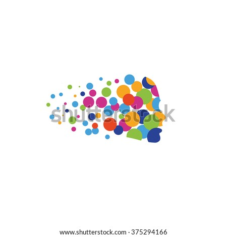Isolated vector hair logo. Bubbles hair. Colorful circles. Hairdresser emblem. Barbershop symbol. Shampoo sign. Styling cosmetics. Summer. Woman side view.