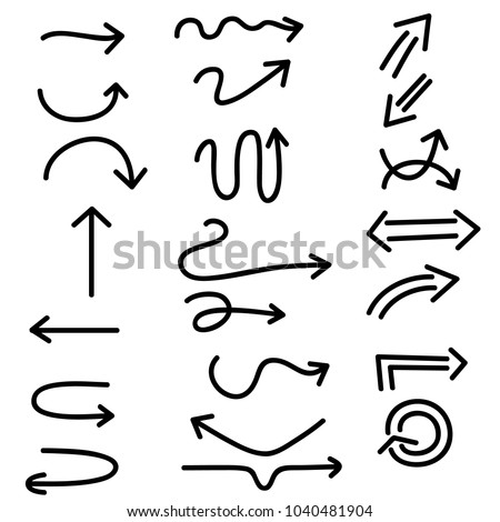 Isolated vector hand drawn arrows set on a white background #1040481904