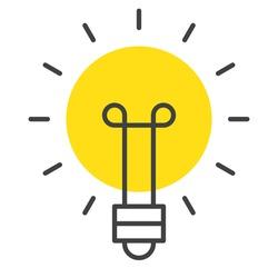 Isolated vector icon of light bulb in sun shape. Smart idea, energy saving concept.