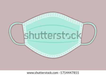 Isolated vector icon of surgical mask. Medical mask clip art.