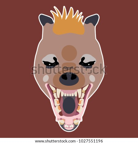 Isolated vector icon with stylized hyena's face. Flat cartoon style.