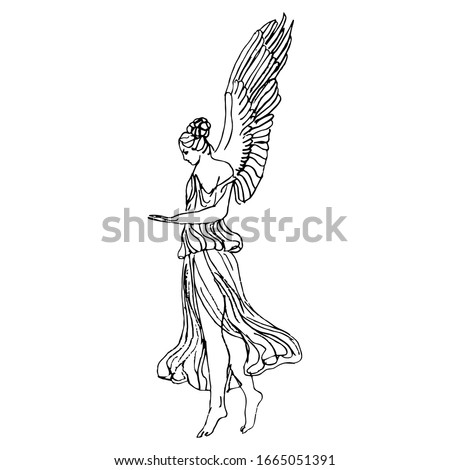 Isolated vector illustration. Antique vintage angel. Ancient Greek or Roman winged goddess. Nike or Hebe. Hand drawn linear doodle ink sketch. Black silhouette on white background.