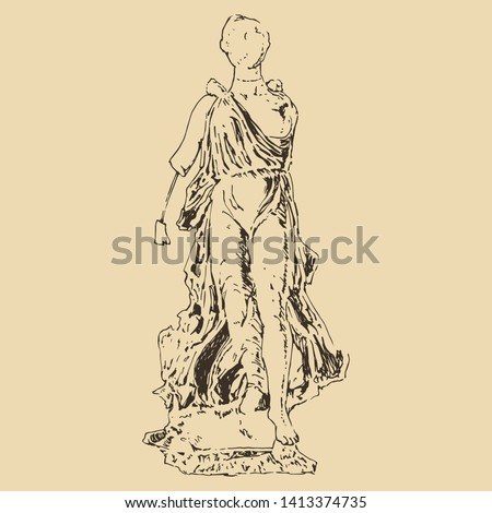Isolated vector illustration. Broken ancient Greek sculpture of goddess Nike from Olympia. Hand drawn linear monochrome sketch.