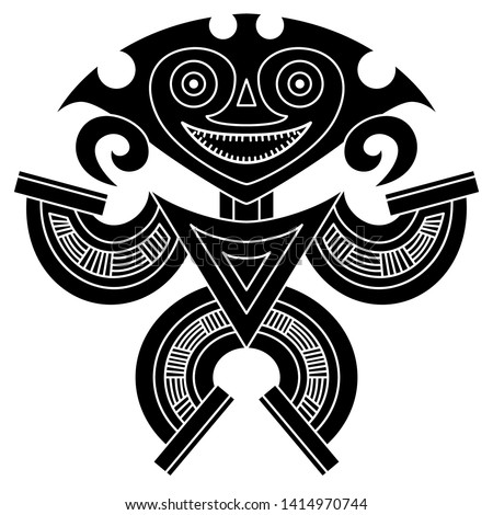 Isolated vector illustration. Fantastic tribal motif from Panama. Pre Columbian Native American art. Stylized human figure. Black and white silhouette. Stockfoto ©