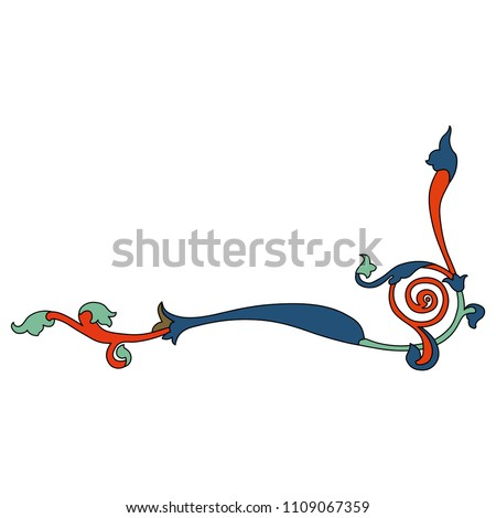 Isolated vector illustration. Medieval floral decor. Based on Gothic illuminated manuscript motif.
