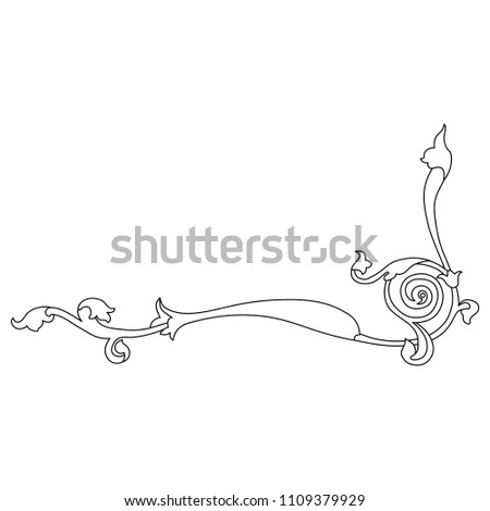 Isolated vector illustration. Medieval floral decor. Based on Gothic illuminated manuscript motif. Black and white linear silhouette.