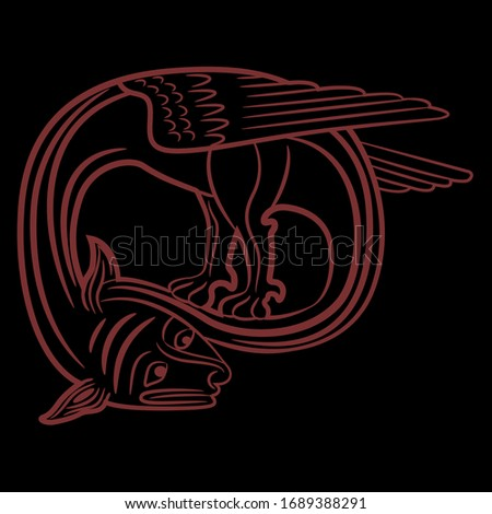 Isolated vector illustration. Medieval winged dragon. Illuminated manuscript motif. Monochrome silhouette.
