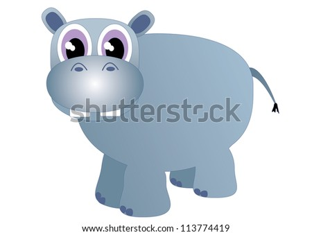 isolated vector illustration of a hippo