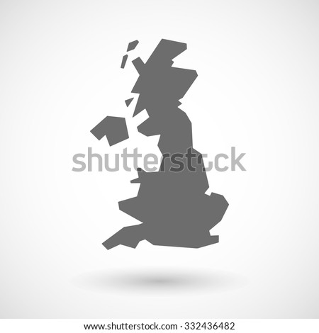 Isolated vector illustration of  a map of the UK