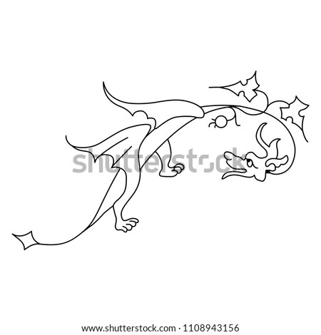 Isolated vector illustration of a stylized fantastic winged dragon with floral elements. Based on medieval motif from Gothic illuminated manuscript. Black and white linear silhouette.