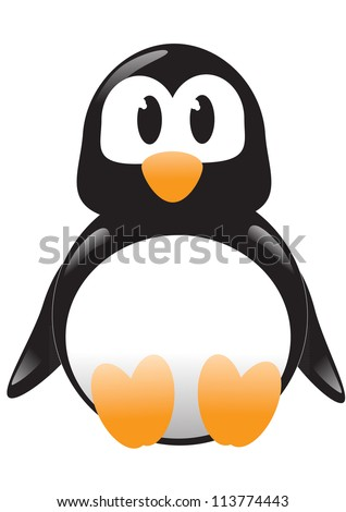 Isolated vector illustration of cartoon penguin