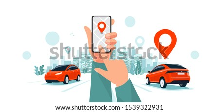 Isolated vector illustration of hands with smartphone app and motorway traffic. Autonomous connected cars on the highway panoramic perspective horizon vanishing point view. Road to the city skyline.