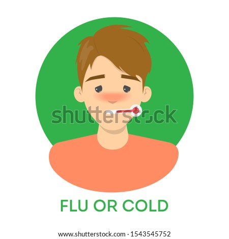 Isolated vector illustration of ill male character. Man having a fever, holding a thermometer in his mouth. Idea of illness and healthcare