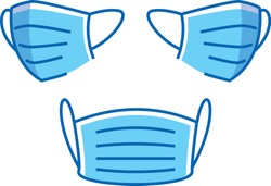 Isolated vector illustration of medical blue surgical face mask. Front, left and right side view.