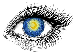 Isolated vector illustration of realistic human eye of a girl with glowing bright yellow moon on blue sky iris.