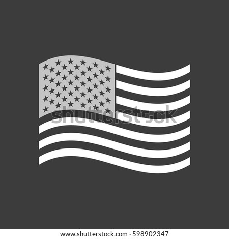 Isolated vector illustration of  the Unites States of America waving flag #598902347