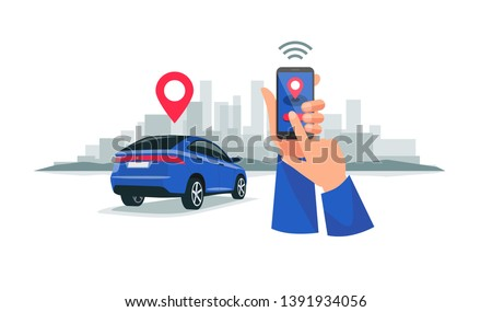 Isolated vector illustration of wireless remote connected car sharing service controlled via smartphone app. Hands holding a phone with location mark of smart electric car in the modern city skyline.