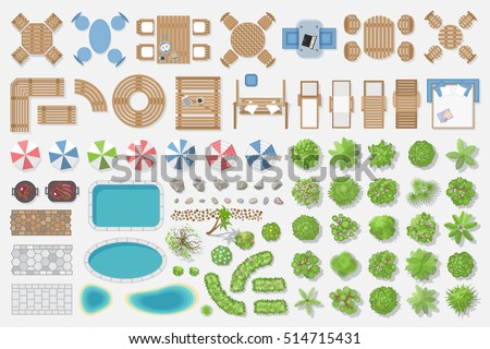 Isolated vector illustration. Outdoor furniture and trees for landscape design. (Top view)