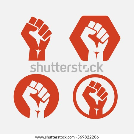 isolated vector illustration. Raised fist set red logo icon