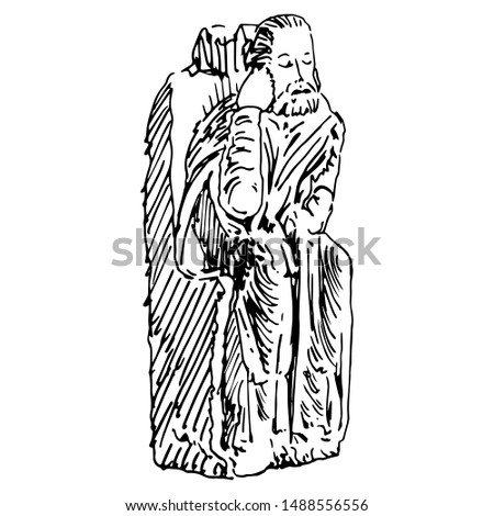 Isolated vector illustration. Sculpture of a seated Christian Saint from Spanish cloister. Hand drawn linear sketch. Black and white silhouette.