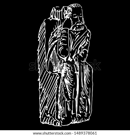 Isolated vector illustration. Sculpture of a seated Christian Saint from Spanish cloister. Hand drawn linear sketch. White silhouette on black background.