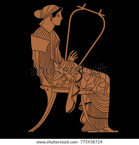 Isolated Vector Illustration Seated Woman With A Lyre Based On