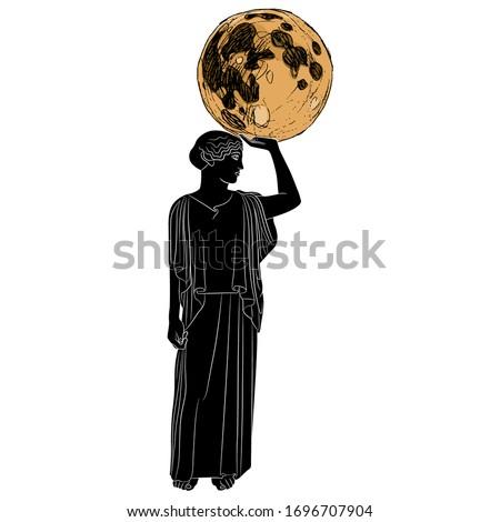 Isolated vector illustration. Standing ancient Greek woman or goddess holding full moon. Selene or Nyx. Muse Urania. Zdjęcia stock ©
