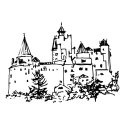Isolated vector illustration. View of a medieval Bran castle in Romania. (Dracula's Castle of Vlad the Impaler). Hand drawn linear ink sketch. Black silhouette on white background.