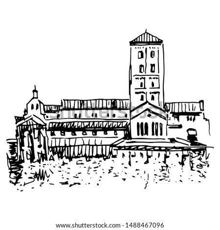 Isolated vector illustration. View of the Cuxa Cloister. Cloisters museum in Fort Tryon Park. Washington Heights, Manhattan, New York City. Hand drawn sketch. Black and white linear silhouette.