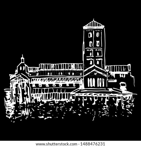 Isolated vector illustration. View of the Cuxa Cloister. Cloisters museum in Fort Tryon Park. Washington Heights, Manhattan, New York City. Hand drawn linear sketch. White silhouette on black.