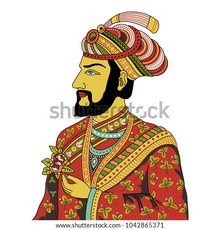 Isolated vector illustration. Vintage portrait of medieval Indian Mogul prince holding a rose.
