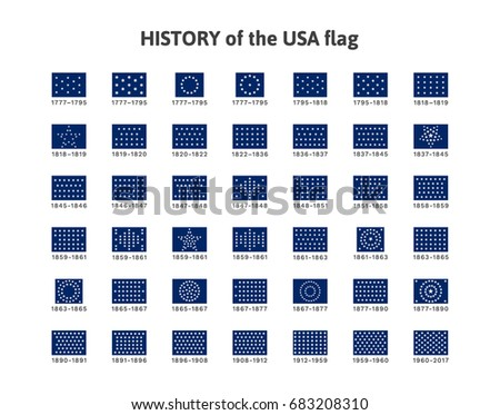 Isolated vector illustration with a history of development of the changing fragment of flags (cantons) of the United States of America from 1777 to 2017. Set of 42 vector symbols for print and web