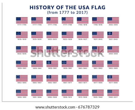 Isolated vector illustration with a history of the flags of the United States of America from 1777 to 2017. Set of 42 vector symbols for the Memorial Day and Independence Day in USA for print and web