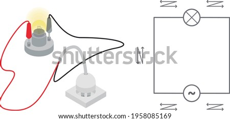 Isolated vector illustrations of an alternated circuit - AC - in isometric view and simple diagram.   Stock foto ©