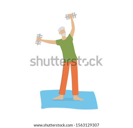 Isolated vector illusttration of an old man doing fitness activity with dumbbells. Grandfather having an active lifestyle. Retired person training in the morning, doing exercise